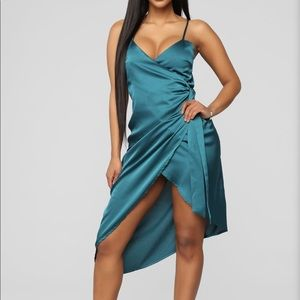 Satin Wrap Dress in Teal